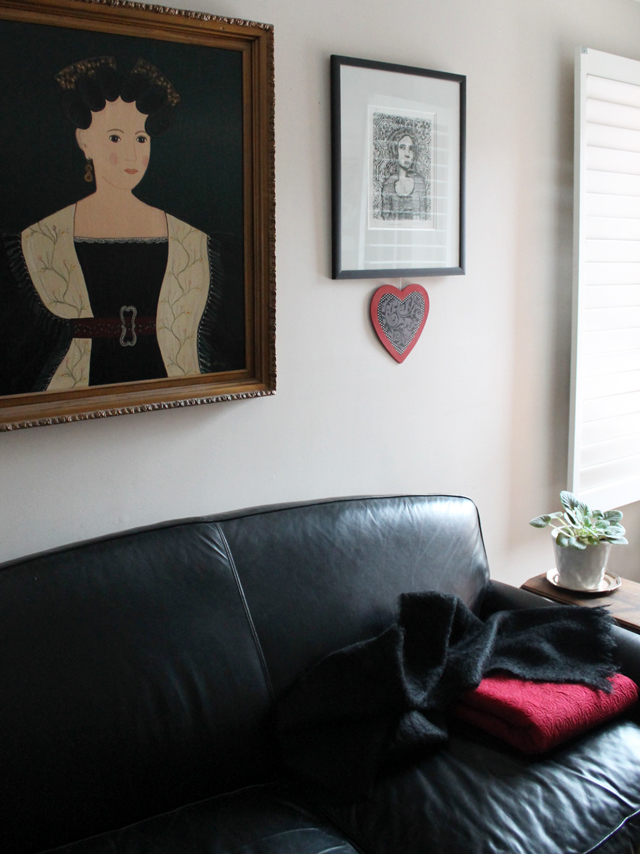 handmade valentine decoration wooden heart on display in living room
