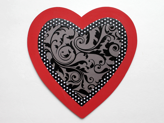 handmade valentine decoration wooden heart with printed paper