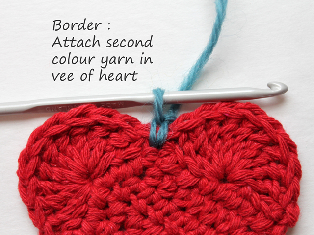 how to crochet a heart attaching second colour for border
