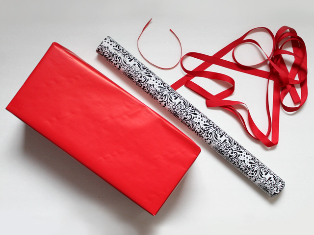 how to wrap a gift with two different wrapping papers