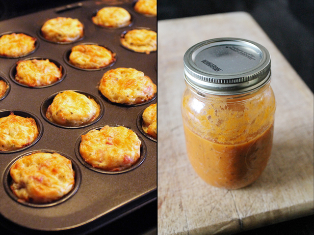 savory mini muffins hors doeuvres with pizza sauce for dipping