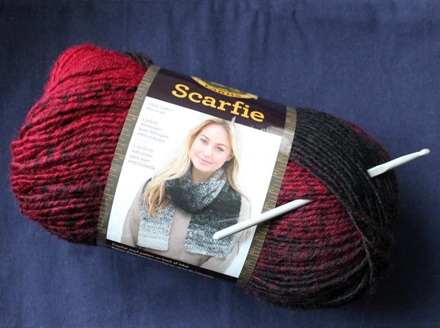 scarfie yarn lion brand cranberry black