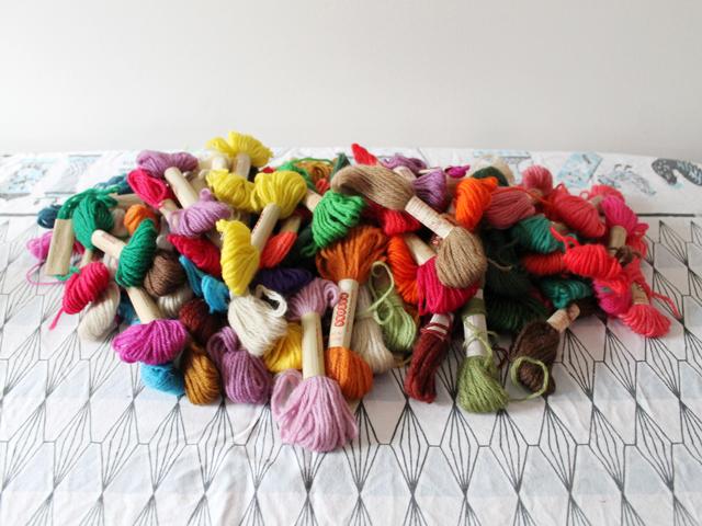 stash of vintage tapestry wool