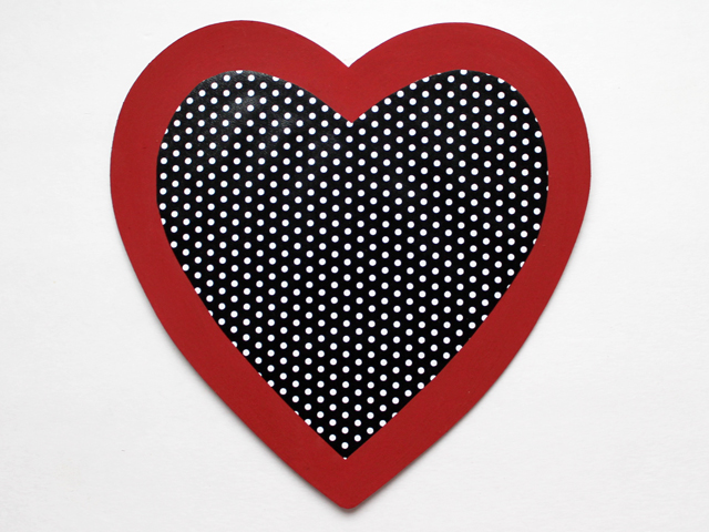 stick paper heart to wooden one with glue strip two sided tape