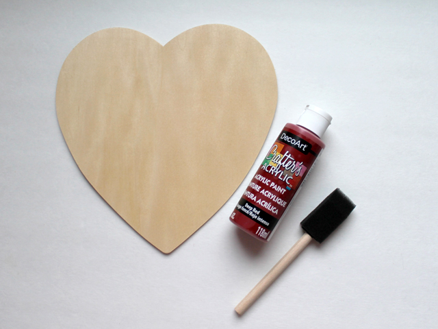 wooden die cut heart from micheals craft supply store and acrylic paint and foam brush