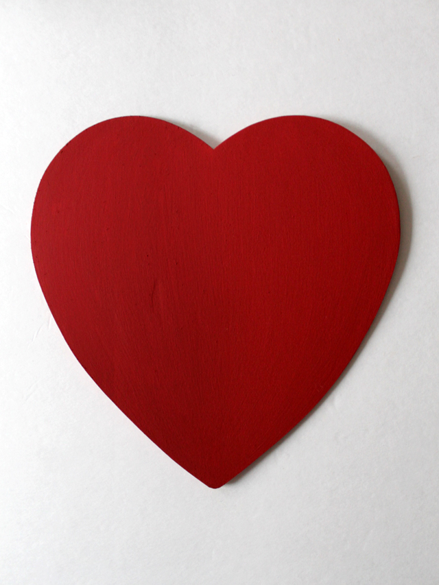 wooden die cut heart painted red with two coats acrylic paint
