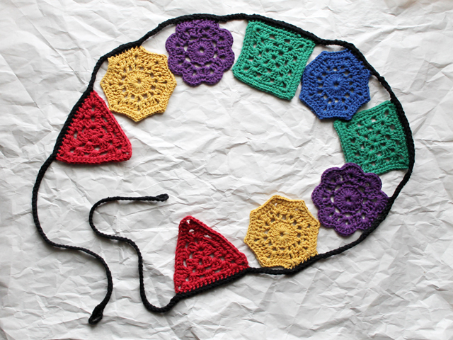 crocheted garland different shapes coloured cotton