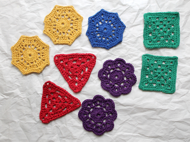crocheted shapes to make a crochet garland