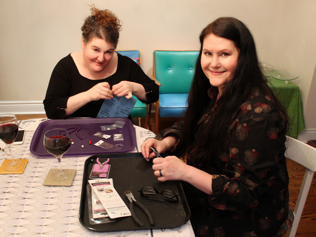 is and me making earrings