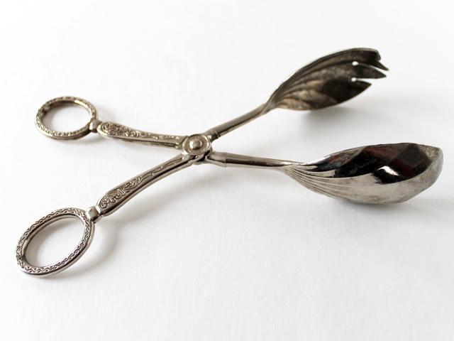 silver plated salad server tongs from thrift store