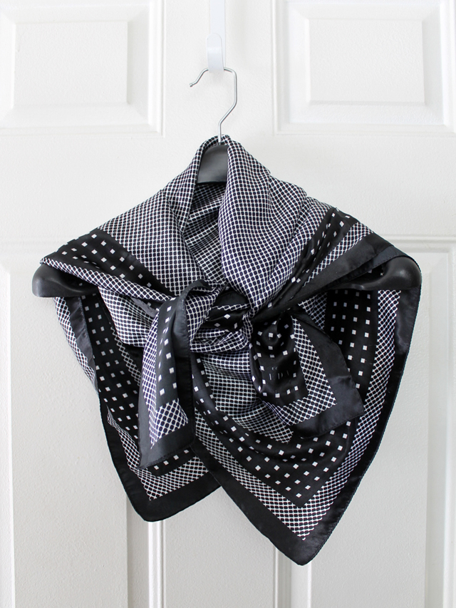 thrifted black and white silk scarf ida brand thrift store find