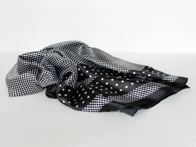 thrifted black and white silk scarf