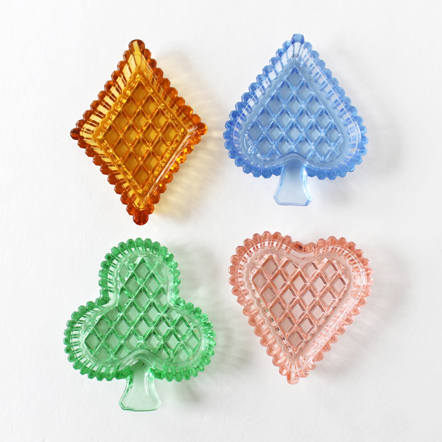 vintage pressed glass set of small dishes ashtrays card suits