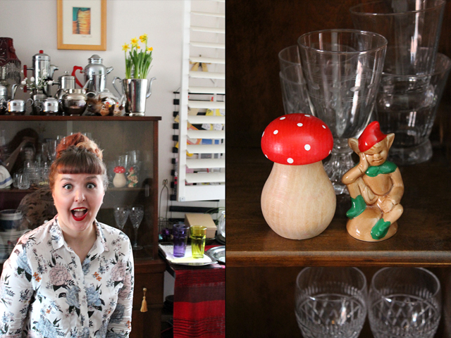 a and wooden toadstool with vintage ceramic elf