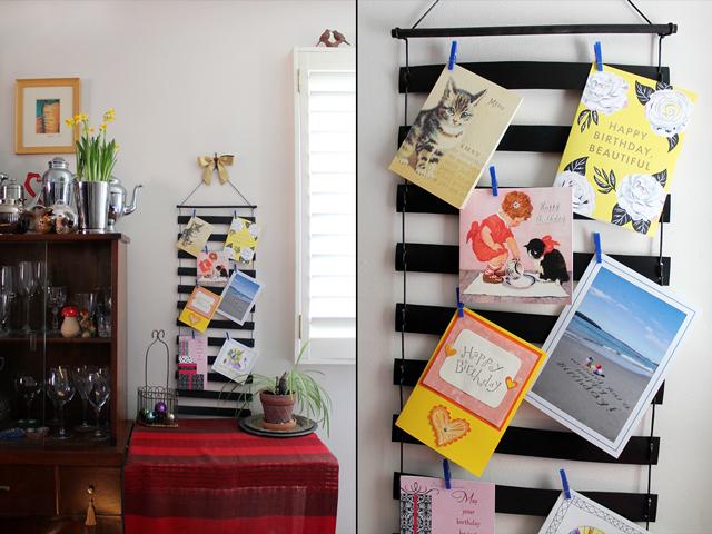 handmade greeting card holder wall hanging display