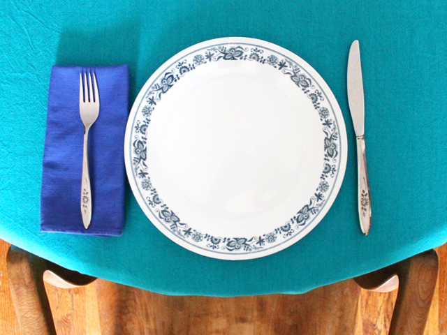 place setting vintage corelle dishes and community stainless cutlery