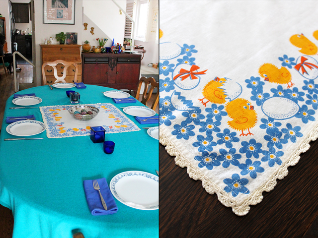 table set for easter and vintage printed easter tablecloth