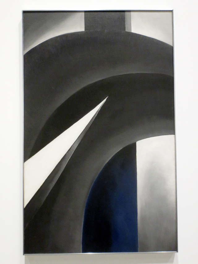 black white and blue painting by georgia okeeffe on display at ago toronto exhibition spring twenty seventeen