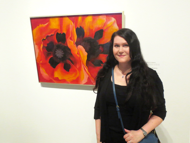 me with oriental poppies painting