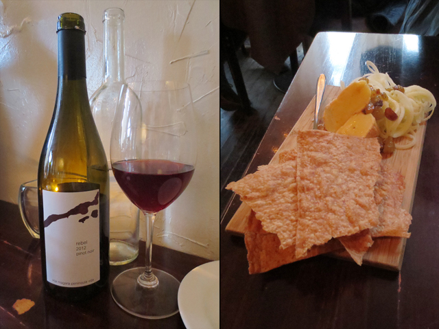 wine and cheese at beast