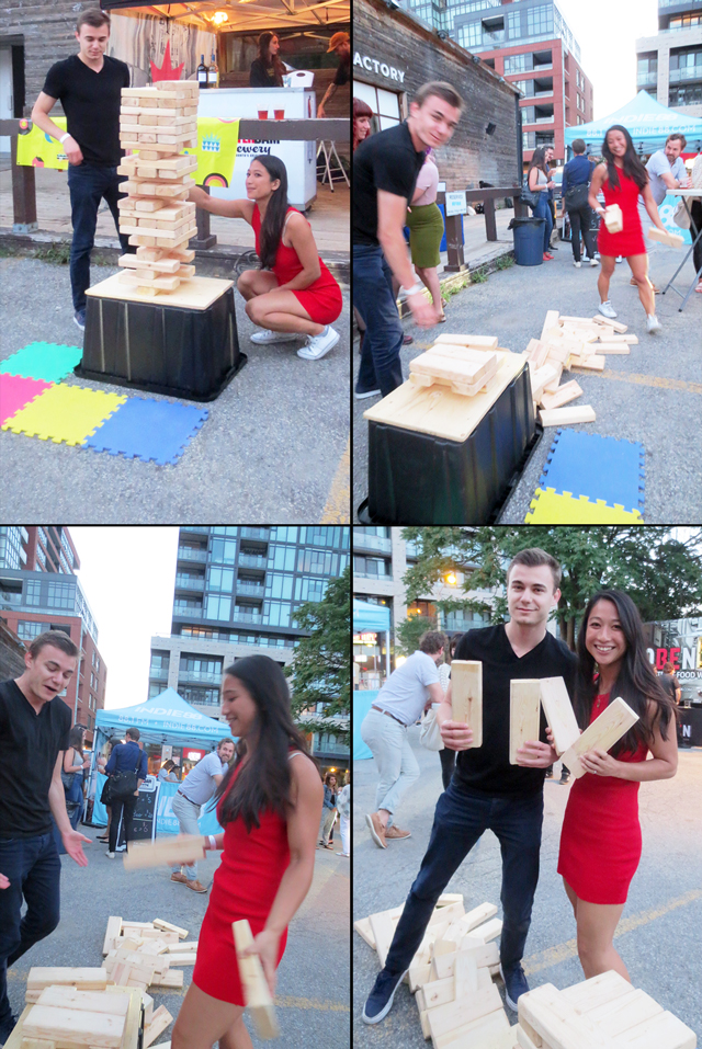 giant jenga at open roof festival outdoor films toronto
