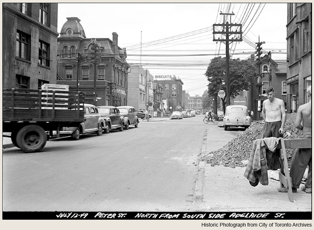 historic photograph toronto peter street near adelaide street 1949