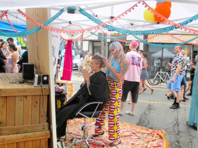 parlour salon doing hair outdoors at ossington street festival toronto