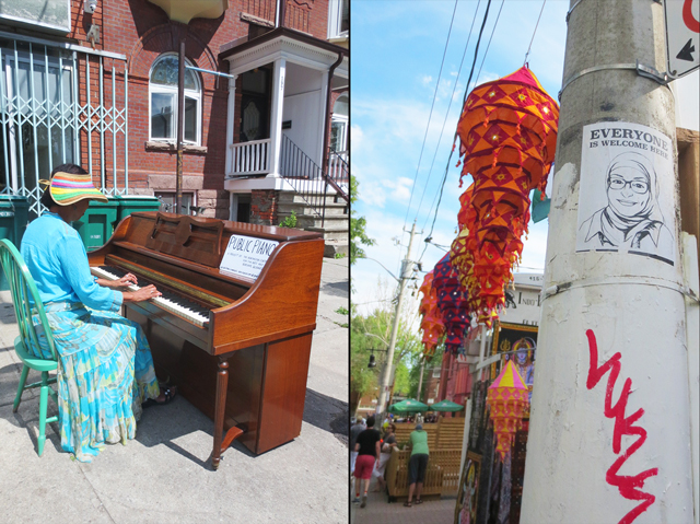 public piano everyone is welcome here kensington market toronto