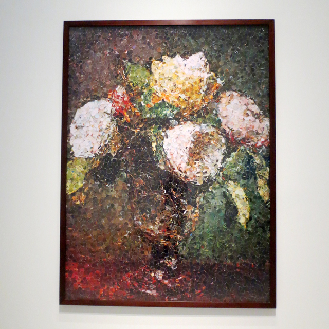 roses after fantin latour by vik muniz on display at ago toronto as if sand were stone exhibit