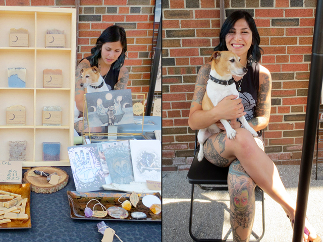 artist ariane bernard and her cute dog at parkdale flea toronto