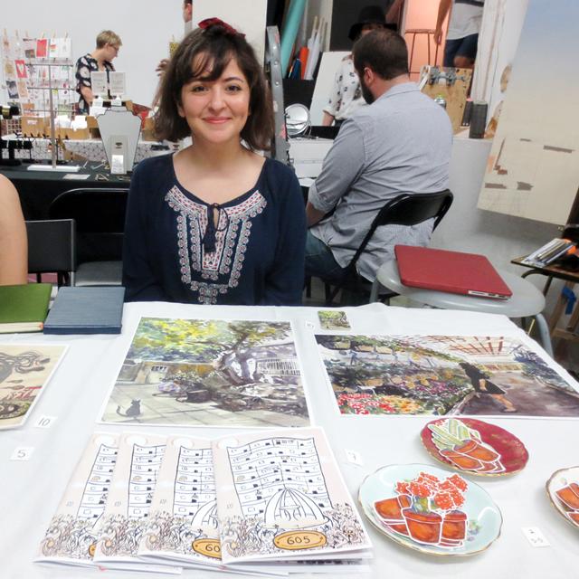 artist kimia ghofrani illustrator designer at parkdale flea toronto