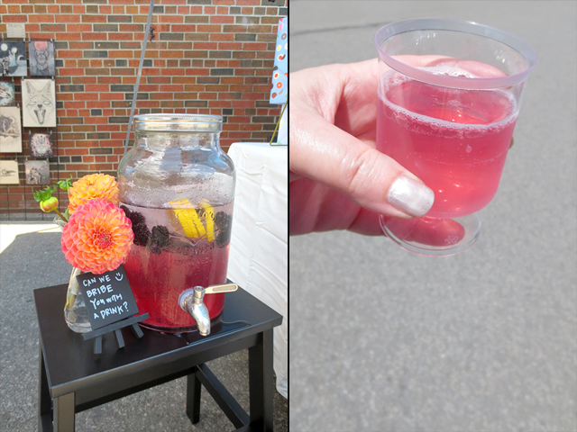 lovely drink offerred by bonnefetti stationery creators parkdale flea