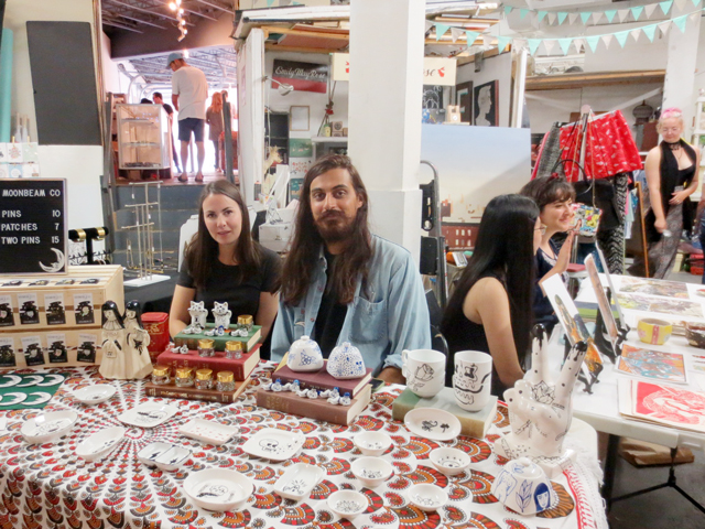 moonbeam co painted procelain pins and patches artists at parkdale flea toronto