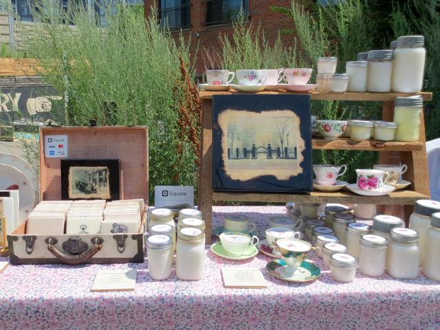 reclaimed coasters and handmade soy candles by revintageto at parkdale flea makers market toronto