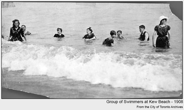 toronto historic photograph Group of Swimmers at Kew Beach1908