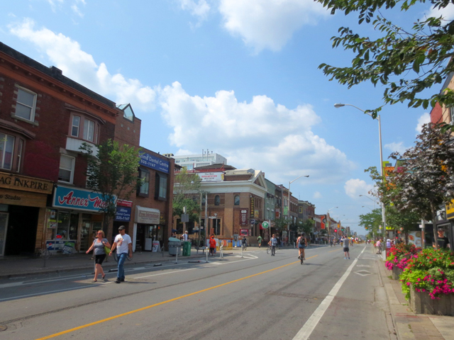 bloor street with no traffic during open streets event toronto