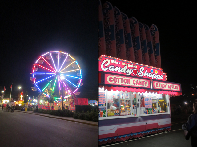 ferris wheel and candy shop at night cne toronto