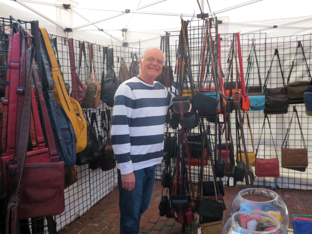 handmade leather pieces by philamain at artfest ontario in distillery district toronto