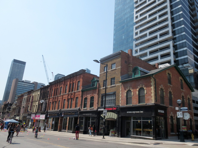historic buildings on yonge street toronto during open streets event