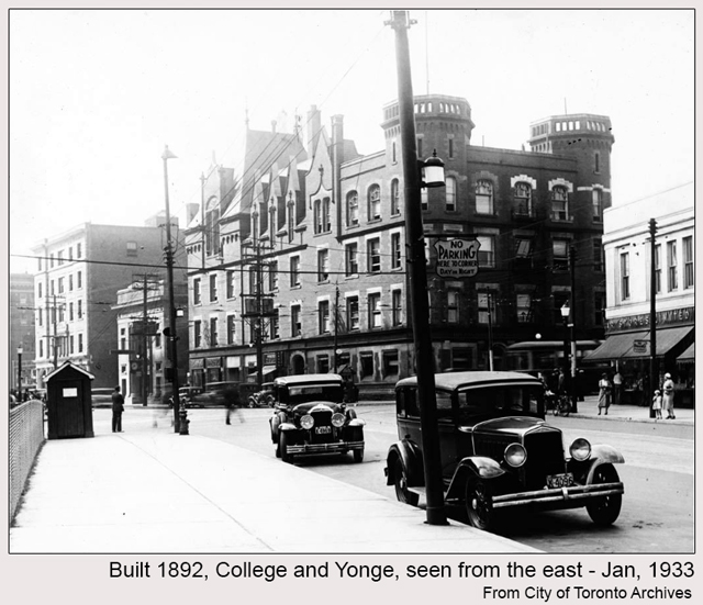 historic photograph toronto building carlton and yonge 1933 seen from east