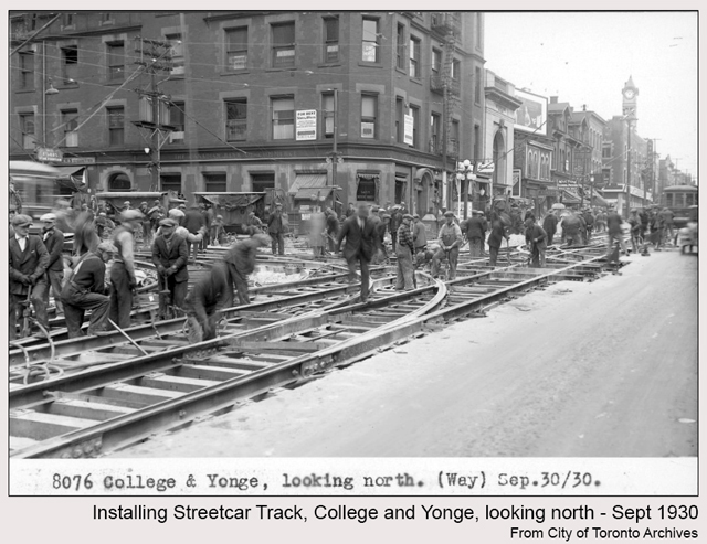 historic photograph toronto carleton and yonge 1930 installing streetcar track