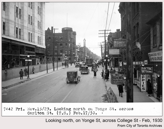 historic photograph toronto carlton and yonge 1930 college park being built