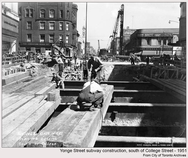 historic photograph toronto college and yonge 1951 subway being built