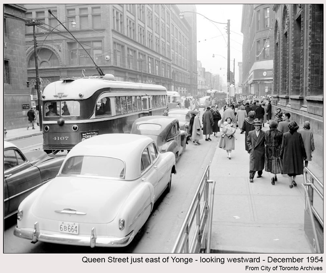 historic photograph toronto queen and yonge seen from east 1954