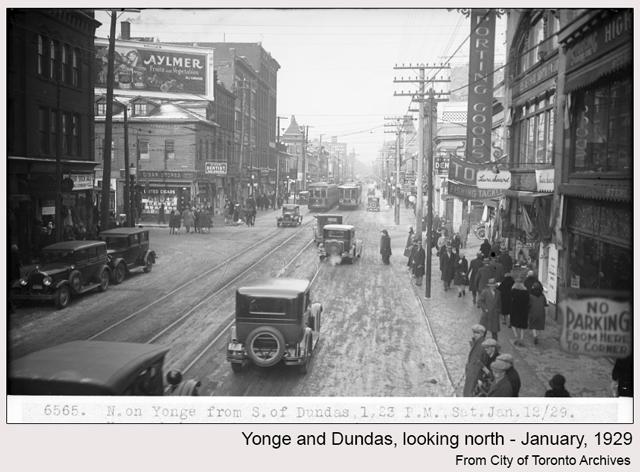 historic photograph toronto yonge and dundas 1929