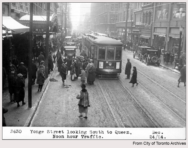 historic photograph toronto yonge and dundas looking south with theatre 1924
