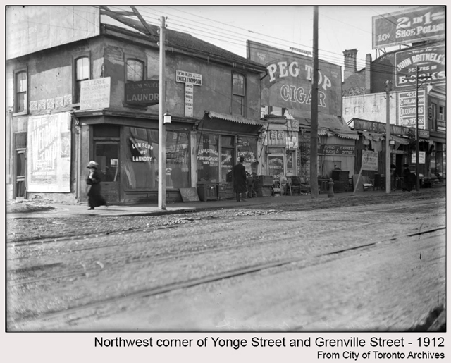 historic photograph toronto yonge and grenville 1912