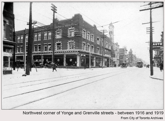 historic photograph toronto yonge and grenville 1916 with view of firehall