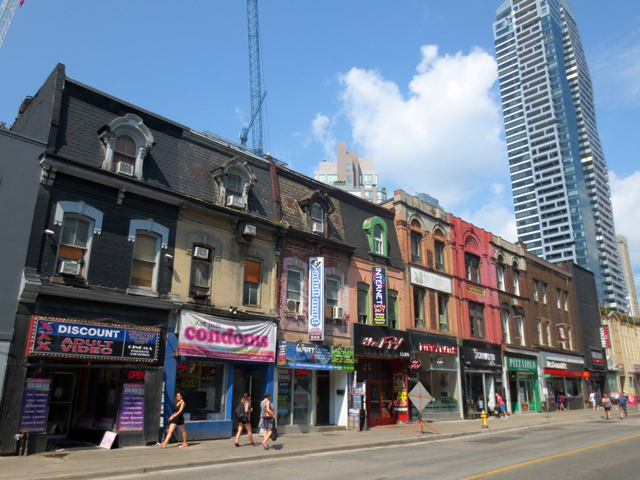 historic row buildings yonge street toronto during streets open festival
