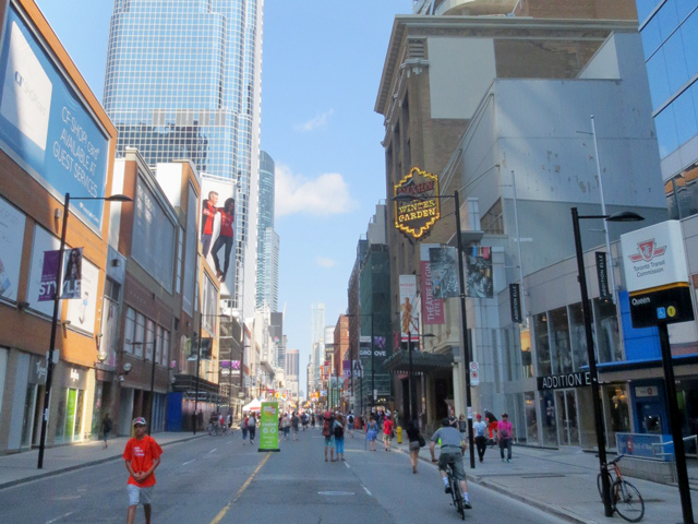 looking north up yonge street from queen during open streets event